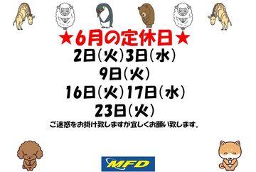 【MFD横浜店】6月の定休日のお知らせ!